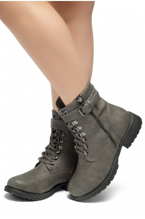 HerStyle Kalie-Lace up side zipper Combat Booties (Grey)