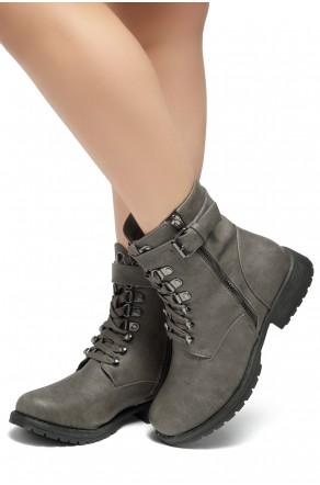 HerStyle Kalie-Lace up side zipper Combat Booties (Grey)