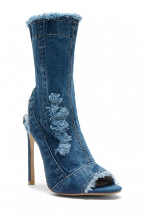 HerStyle Karice Distressed Denim Peep Toe Stiletto Ankle Boots (BLU DM)