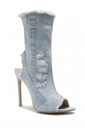 HerStyle Karice Distressed Denim Peep Toe Stiletto Ankle Boots (L.BLU DM)