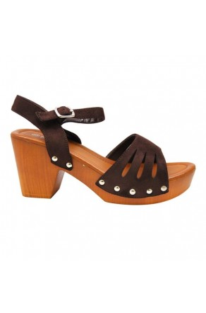 Women's Dark Brown Manmade Karrey 3-inch Heeled Sandal with Silver Studs