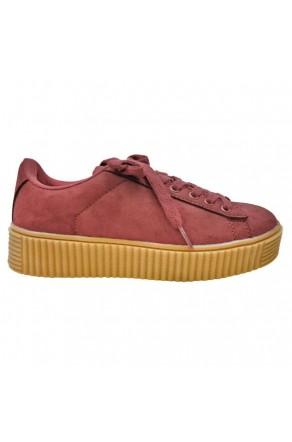 Women's Burgundy Platform Creeper Sneaker KATE - Burgundy