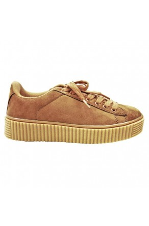 Women's Tan Platform Creeper Sneaker KATE