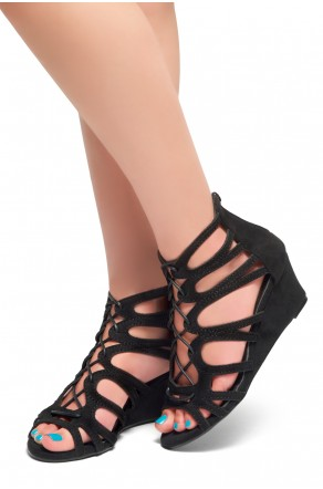 HerStyle Women's Manmade Katina 2.5-inch Gladiator Style Wedge Sandal with Lace-up Vamp (Black)