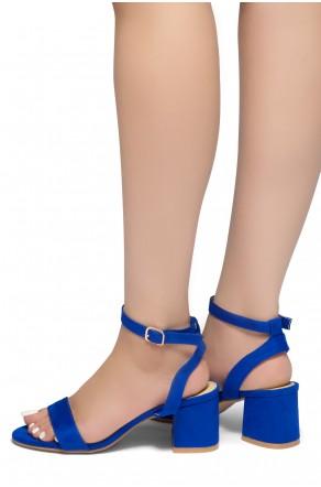 HerStyle KEEPTALKING-Suede Open Toe Ankle Strap Low Chunky Heel Sandal (RoyalBlue)