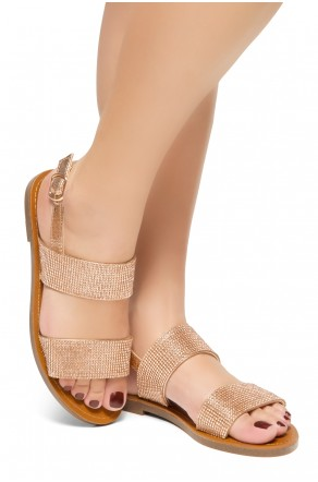 HerStyle Keetton-Rhinestone Details, Double-Band Vamp, Open Toe, Flat Sandals (Crystal RoseGold)