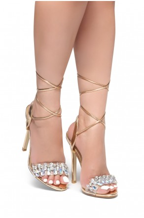 HerStyle Kelany-Lace up, ankle strap, Stiletto heel, Perspex with jewel strap detail (Clear/RoseGold)