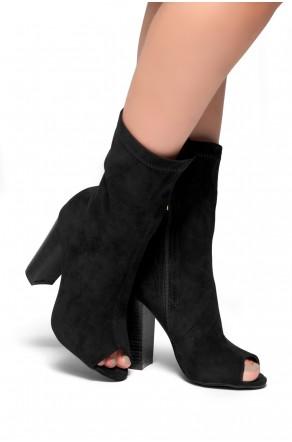 HerStyle Kerry-Suede Peep Toe Chunky Heel (Black)