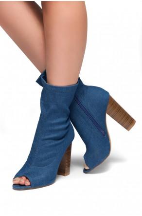 HerStyle Kerry-Suede Peep Toe Chunky Heel (Blue DM)