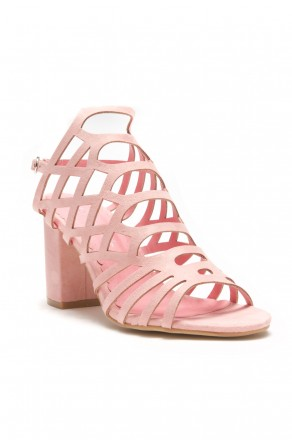 HerStyle Kesseey Laser cut dress sandal,  caged look, strappy style from vamp to ankle ,wrapped chunky heel (Nude)