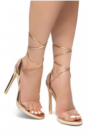 HerStyle KINZA-Stiletto heel, Ankle lace-up (RoseGold)