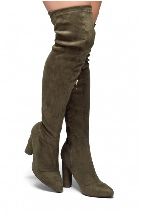 HerStyle Klaraa Pointy Toe Over-The-Knee Thigh-hi Boots, chunky heel - olive