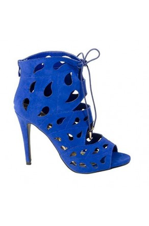 Women's Royal Blue Manmade Klutch 4.5-inch Bootie Heel with Teardrop Cut-out Vamp
