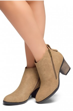 HerStyle Women's Lancast- Low Stacked Block Heel Almond Toe Casual Ankle Booties (Khaki)