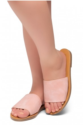 HerStyle Leanna- Lightweight Flat Easy Slide-On Sandals (Mauve)