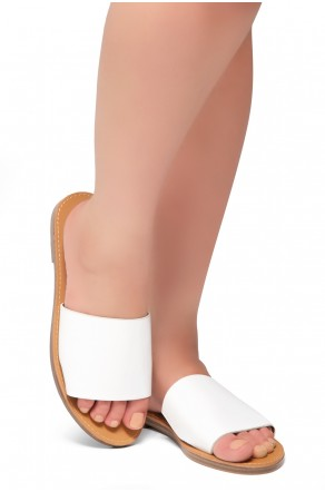 HerStyle Leanna- Lightweight Flat Easy Slide-On Sandals (White)