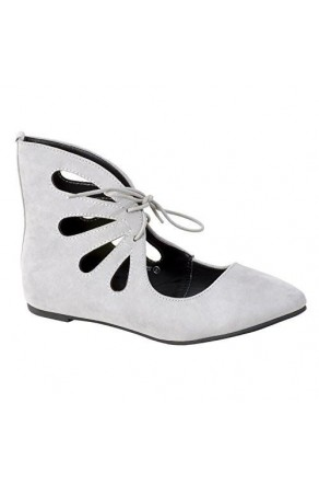 Women's Light Grey Manmade Lecrew Flat Ankle Boot with Fashionable Cut-out Vamp