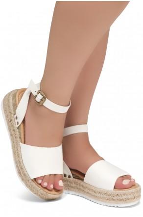 Shoe Land Legossa-Women's Open Toe Ankle Strap Platform Wedge Shoes Casual Espadrilles Trim Flatform Studded Wedge Sandals (1825/White)