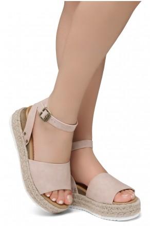 Shoe Land Legossa-Women's Open Toe Ankle Strap Platform Wedge Shoes Casual Espadrilles Trim Flatform Studded Wedge Sandals (1825/Nude)