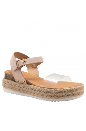 Shoe Land Legossa-Women's Open Toe Ankle Strap Platform Wedge Shoes Casual Espadrilles Trim Flatform Studded Wedge Sandals (ClearNude)