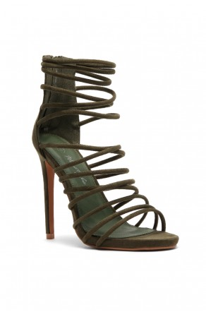 Women's Lenavia: Stiletto heel, strappy, peep toe - Olive