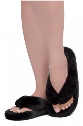 Shoe Land LESSA Women's Cozy Memory Foam Spa Thong Flip Flops Fluff Indoor Slippers Fuzzy Platform Wedge Sandals(2020Black)
