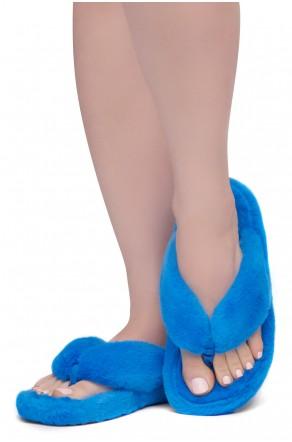 Shoe Land LESSA Women's Cozy Memory Foam Spa Thong Flip Flops Fluff Indoor Slippers Fuzzy Platform Wedge Sandals(2020Blue)