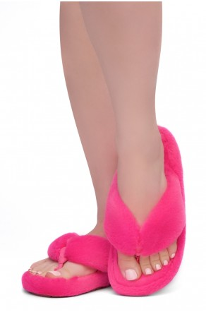 Shoe Land LESSA Women's Cozy Memory Foam Spa Thong Flip Flops Fluff Indoor Slippers Fuzzy Platform Wedge Sandals(2020Fuchsia)