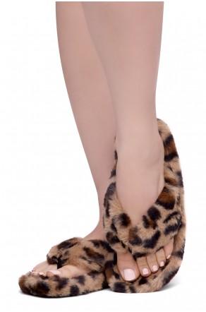 Shoe Land LESSA Women's Cozy Memory Foam Spa Thong Flip Flops Fluff Indoor Slippers Fuzzy Platform Wedge Sandals(2020Leopard)