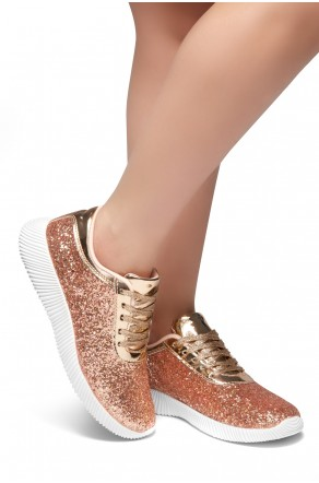 HerStyle LET'S GET LIT- lightly padded insole sneakers (RoseGold)