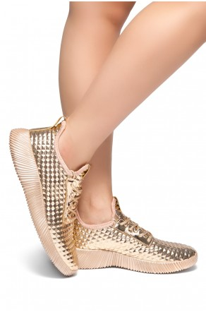 HerStyle:LIGHT SHOW-Textured Metallic Holographic Lace up Rigged Sneaker (RoseGold)