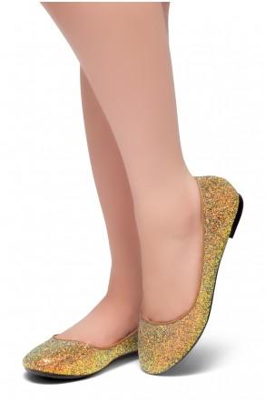 HerStyle LIKE A BOSS-Round Toe, Glitter Details, Ballet Flat (Bronze)