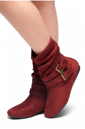 Women's Burgundy Lindell Women's Fashion Calf Flat Heel Side Zipper, double Buckle straps, Slouch Ankle Boots-- [Runs Small, Order One Size Bigger]