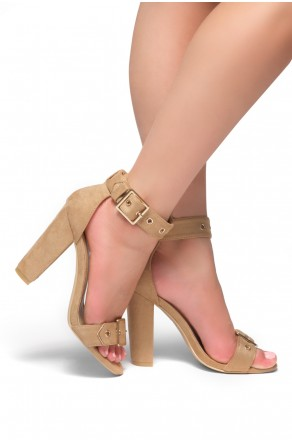 HerStyle Loyal Suede Ankle Strap, Buckled, Open Toe, Chunky Heel (Sand)