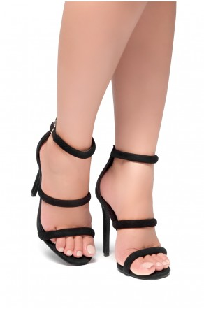 HerStyle Lucid- Ankle Rounded Strap, Open Toe, Stiletto Heel  (Black)