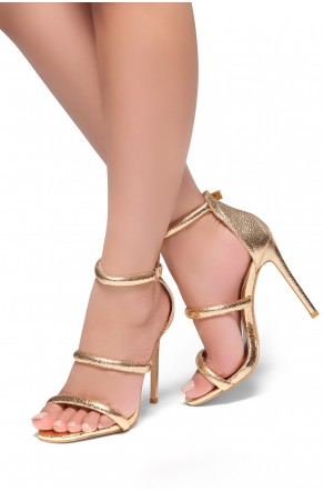 HerStyle Lucid- Ankle Rounded Strap, Open Toe, Stiletto Heel  (Rose Gold)