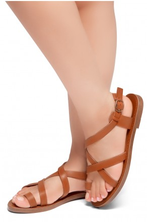 HerStyle Lulla-Toe Ring Sandal with Unique Crisscross Straps (Cognac)