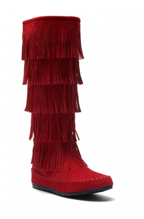 Women's Burgundy Maddyyee Faux Suede Knee High Fringed five-layer Moccasin Boots