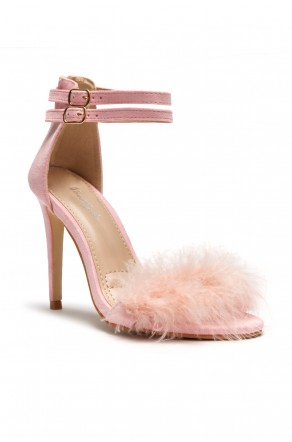Herstyle Women's Madeena Faux Feather Ankle Strap Stiletto Heel - Pink