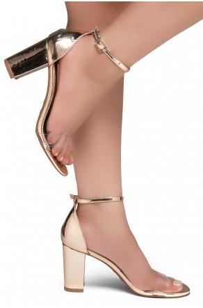 Shoe Land Madeline-Womens Open Toe Ankle Strap Chunky Block Low Heel Dress Sandals (ClearRoseGold)