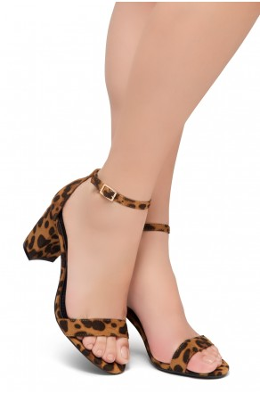 Shoe Land Madeline-Womens Open Toe Ankle Strap Chunky Block Low Heel Dress Sandals (Leopard)