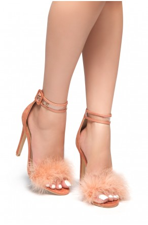 HerStyle Madyson-Perspex Strap Fluffy Stiletto Heel (Blush)