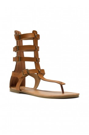 HerStyle Women's Magtie  Strappy buckled thong gladiator flat sandal (Cognac)