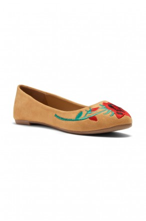 HerStyle Majorca-Suede Round Toe Embroidered Floral Ballet Flat (Mustard)