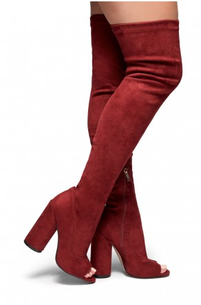 HerStyle Malorey Sock fit peep toe boots, thigh high boots, and round heel (Burgundy)