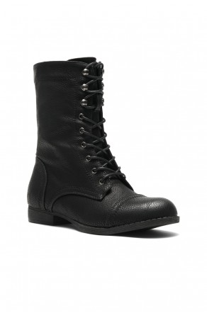 Women's Black Mannzo Military Lace up Combat Boots