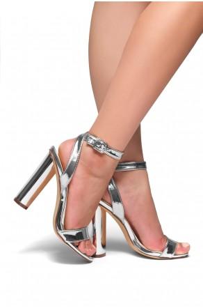 HerStyle Marijka Metallic, Ankle Strap, Open Toe, Cylinder Heel (Silver)