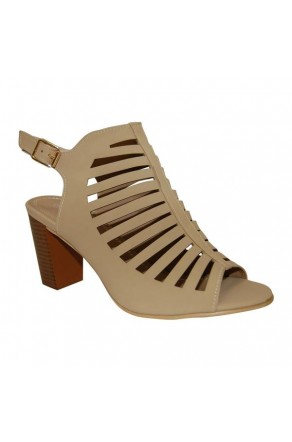 Women's Beige Manmade Marinner Stack Heel Sandal with Gladiator-Style Vamp