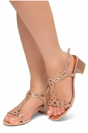 HerStyle Mastermind- Jeweled Embellishments, Low Block Heels, Open Toe, Open Back Sandals (RoseGold)