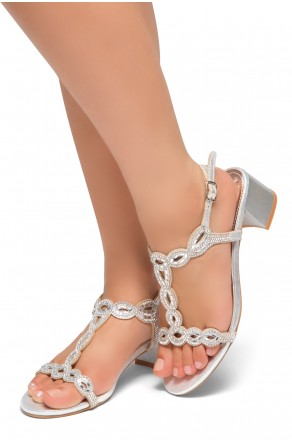 HerStyle Mastermind- Jeweled Embellishments, Low Block Heels, Open Toe, Open Back Sandals (Silver)